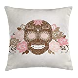 tgyew Skull Throw Pillow Cushion Cover, Skull and Roses Dead Man in Colors Vintage Style Spooky Graphic Art Print, Decorative Square Accent Pillow Case, 18 X 18 inches, Chocolate Pink Cream