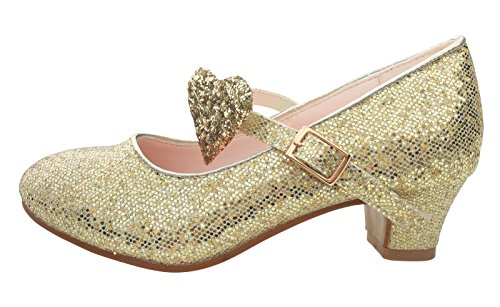 La Señorita Zapato Elsa Frozen corazón Flamenco Sevillanas de la princesa niña oro purpurina Talla...