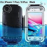 SODIAL iPhone 7 Plus/8 Plus Underwater Housing Professional [40m/130 Pagar] Funda de Buceo para navegar Swim Snorkeling Photo Video con Lanyard (iPhone 7 Plus/8 Plus, Negro)