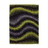 ayshaggy Teppich Shaggy-Design Hochflor Langflor mit Wellen-Muster für Wohnzimmer/Schlafzimmer in Grün, Grau, Schwarz, Größe: 200 x 290 cm
