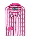 HAWES & CURTIS Damen Bluse Slim Fit Baumwolle Gewebte Tupfen pink & weiß, Rosa/Weiß, 38 (UK 12)