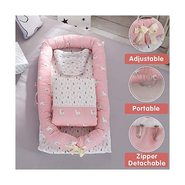 YANGGUANGBAOBEI Cuddly Baby Sleeping Pod - Breathable Foam Nest For Newborn And Babies,for Bed - Portable Baby Nest,G YANGGUANGBAOBEI Safe and Cosy Material: This baby bassinet is made of 100% cotton fabric and breathable, hypoallergenic internal filler, which is safe for baby's sensitive skin. Size:Baby lounger35.4x21.6x5.9inch,Quilt31.5 x 35.4 inch, this portable baby bassinet for bed is fit for baby 0-24 month and being adjustable. The ends of the bumpers can be fully opened, to satisfy children different levels. Multifunctional and Portable: Use the baby lounger as a bassinet for a bed, side sleeper, travel bed, newborn pillow, can be placed in cribs, adult beds, indoors, outdoors or other place you want,easy to carry outdoor. 6