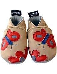 C2BB - Chaussons bébé cuir souple fille   Papillon rouge