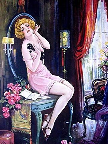 PAINTING DECO FLAPPER WOMAN CANDLESTICK TELEPHONE 30X40 CMS FINE ART PRINT ART POSTER BB8420