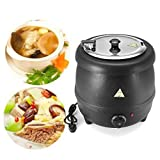 RISHIL WORLD 400W 10L Stainless Steel Soup Kettle Electric Bolier Black 98C Max Party