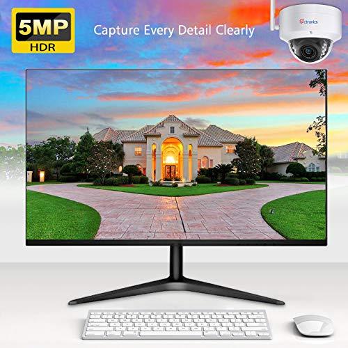 Ctronics 5MP Menschenerkennung WLAN Überwachungskamera, IP-Dome-Kamera bis 30m IR-Nachtsicht, Bewegungserkennung, IP 65 wasserdicht, Verwendung im Innen- und Außenbereich, Unterstützt SD-Karte