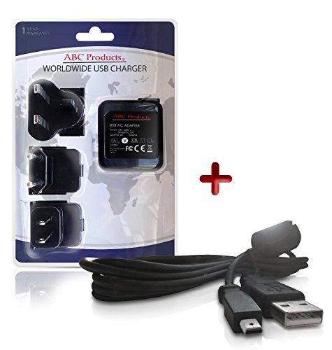 ABC Products® Ersatz Kodak Akku Ladegerät / Netzteil + U-8 / U8 USB-Kabel für Easyshare M320, M340, M341, M380, M381, M420, M753, M763, M853, M863, M873, M883, M893 is, M1063, M1073 is, MD41, MD1063, MX1063, M1073 is, V1073, V1233, V1253, V1273 Digitalkamera - Weltreise - EU/UK/USA +