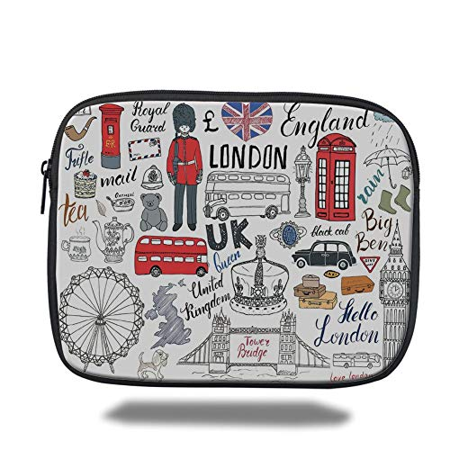 Tablet Bag for Ipad air 2/3/4/mini 9.7 inch,Doodle,I Love London Double Decker Bus Telephone Booth Cab Crown of United Kingdom Big Ben Decorative,Multicolor,Bag -