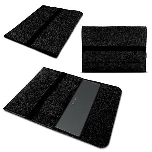 Nauci Laptop Tasche Sleeve Hülle für Medion Akoya E2228T Notebook Netbook Ultrabook Case aus strapazierfähigem Filz in Dunkelgrau mit praktischen Innentaschen
