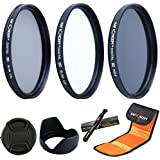Lens Filter 52MM,K&F Concept 52mm Slim UV Filter 52MM CPL Filter ND Grad Filter Circular Polarising Filter Neutral Density Filters + Petal Lens Hood + Center Pinch Lens Cap + Cleaning Pen