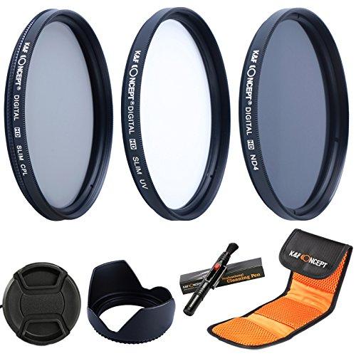K&F Concept® Objektiv Filterset 58mm ND4 UV CPL Filter 58mm für Canon Nikon mit Reinigungspinsel Objektivdeckel 58mm Gegenlichtblende und 3 Fächer Filtertasche