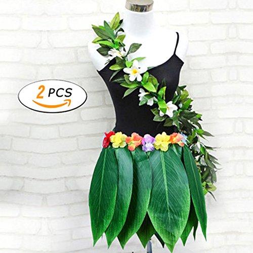 Ruier-hui Hawaiian Luau,Hawaii Party Kostüm 2 in 1 Set,Blumen Hula Rock + Blume Stirnband,Herren Frauen Unisex Zubehör für Hula Luau (Hula Kostüm Für Männer)
