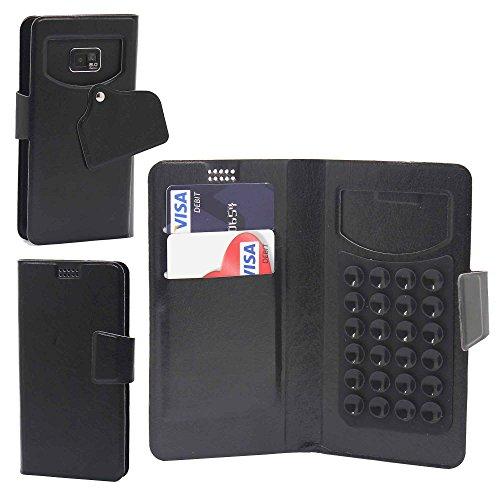 Téléphone portable ventouse Portefeuille par Gadget Giant®, Cuir synthétique, violet, moyen noir