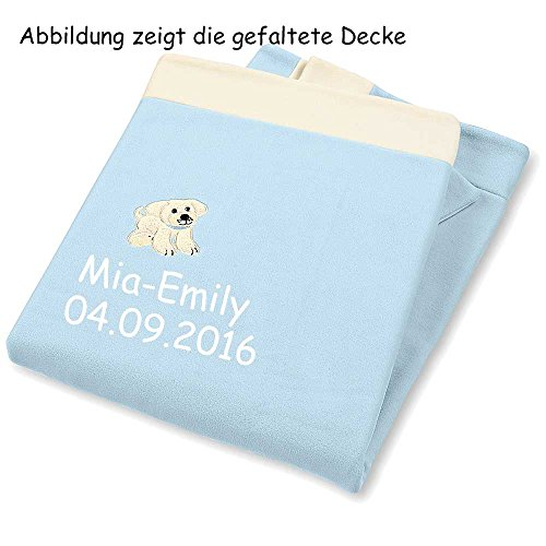 Sterntaler Decke Babydecke mit Namen bestickt 100x75 cm Baby Geschenk zur Geburt Mäbel Ella Stanley (Hardy (Hund))