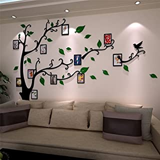 3D Wall Stickers Plastic Tree Wall Decal Home Decorations with Family Photo Frames for Children's Room, Kindergarten, Baby Room, Restaurant, Family (L: 175 * 230CM, Green Right)
