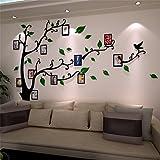 Guangmu Wandaufkleber mit Bilderrahmen 3D Wandtattoos Wandsticker Speicher Foto Acryl Baum Sticker für Hause Dekorationen Kunst (Grün Rechts, L(230 * 164.3CM))