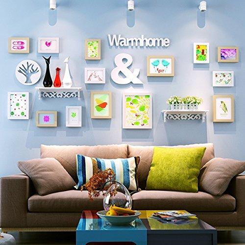 Nwn Fotowand Foto Wand Occident Style Sofa Hintergrund Malerei Bilderrahmen Kombination mit Lagerregal, 14 Rahmen, schwarz + weiß (70,9 * 29,1 Zoll) (Farbe : White+Primary Color) (14 Wand-aufkleber)
