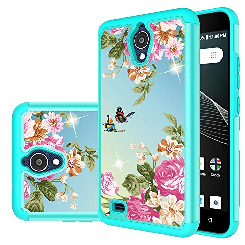 AT&T AXIA Hülle, AT&T QS5509A Hülle, Yiakeng Dual Layer stoßfest Wallet Slim Protective with Kickstand Hard Phone Cases Cover for AT&T AXIA 2018, 6