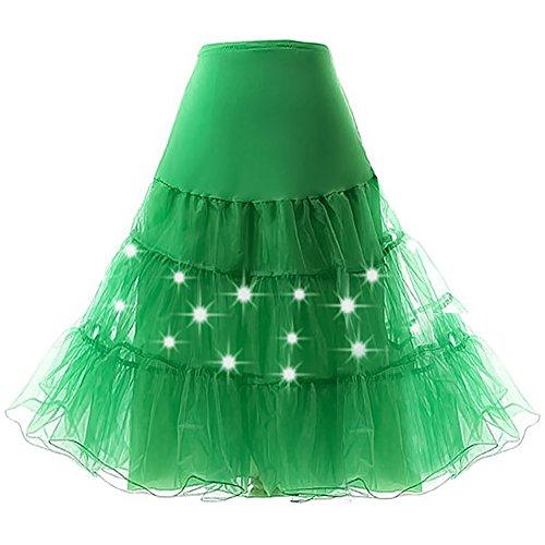HENCY Karneval Fasching Kostüm Retro Petticoat Rock Ballett Tutu Unterrock Mit LED Licht Grün Medium