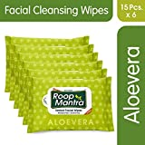 Roop Mantra Aloevera Facial Cleansing Wipes, 15 Count, Pack of 6 - Facial Wipes for Men & Women, Skincare Wipes