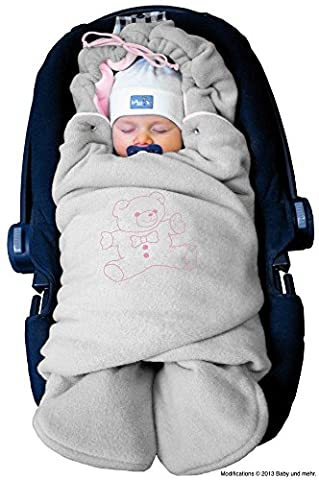 ByBoom® - Swaddling Wrap, Car Seat and Pram Blanket for Winter, Universal for infant and child car seats (e.g. Maxi-Cosi, Britax), for a pushchair/stroller, buggy or baby bed; THE ORIGINAL WITH THE BEAR, Color:Grey/Pink