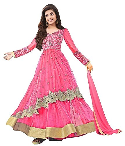 Super Deal Woman\'s Pink Net Anarkali Unstitched Free Size XXL Salwar Suits Sets Dress (Indian Clothing)