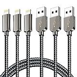 Cable Lightning- Zeuste Cargador iPhone [3PACK 1.5M] Nylon Cargador Apple Cable para iPhone 7 7Plus SE 6s 6 Plus 5s 5c 5 se, iPad Pro Air 2, iPad mini 4 3 2, iPod touch 5th gen / 6th gen / Nano 7th gen Gris Cable Iphone (Gris)