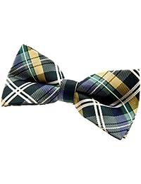 "Retreez Elegant Tartan Plaid Check Woven Microfiber Pre-tied Bow Tie (5"")"