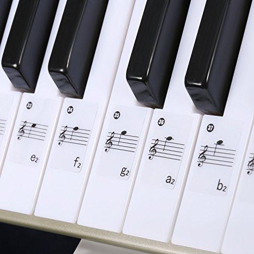 Neewer Klavier Keyboard Musik Hinweis komplettes Aufkleber Set mit Benutzerhandbuch für 49, 61, 88 weißen und schwarzen Tasten