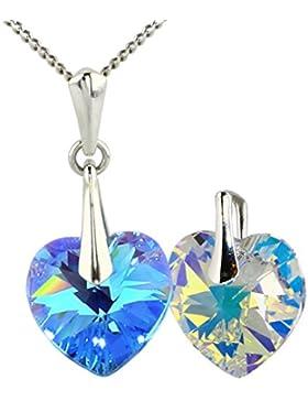 Swarovski® 2 Herz Anhänger Kristalle mit Silber-Halskette M3crystal edle Kettenanhänger Aquamarine + Crystal,...