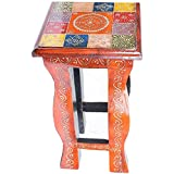 APKAMART Handcrafted Bedside Table - 16 inch Height - Handicraft Ethnic Side Table for Room Decor, Home Decor and Gifts
