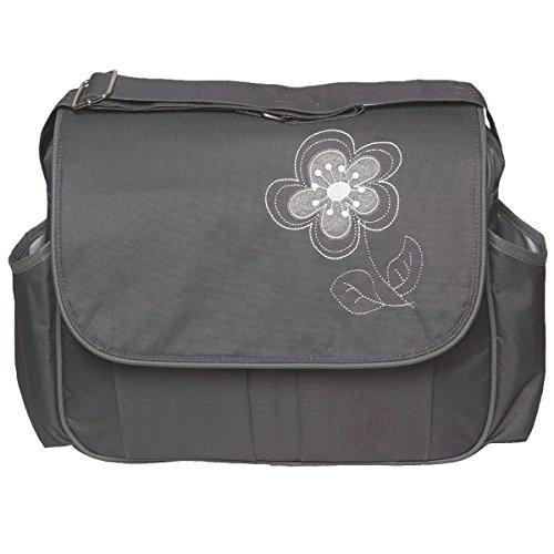 Wickeltasche VIOLA + Wickelauflage Pflegetasche Windel Baby Tasche Kinderwagen Buggy in 3 verschiedenen Farben (Schwarz) Grau