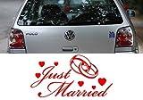 Z456 'Just Married' - Hochzeit Autoaufkleber Spruch Sprüche lustig Heckscheibe Motorhaube Tattoo tuning (58x32cm) weiß