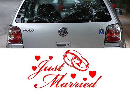 Z456-Just-Married-Autoaufkleber-Spruch-lustig-Heckscheibe-Motorhaube-Autofolie