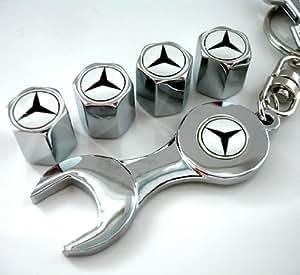 Blanc Mercedes Benz Bouchons De Valve Et Avec Une Clé De Porte-Clés Beau Design Et Bonne Qualité