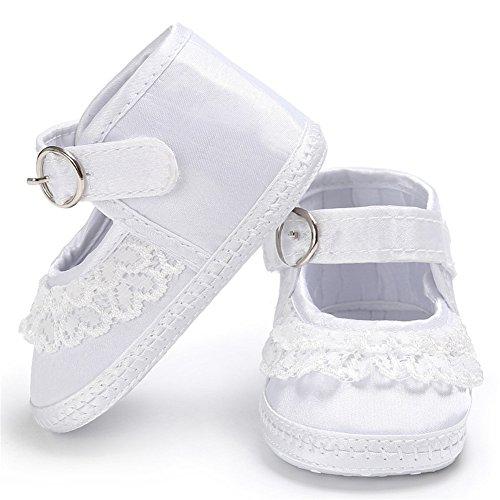 Luerme Baby Mädchen Schuhe Neugeborene Kleinkind Spitze Prinzessin Schuhe Weiche Sohle First Walking Schuhe (9-12 Monate, Weiß) Weiß
