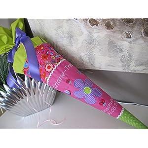 Blumen pink-grün-lila Schultüte Stoff + Papprohling + als Kissen verwendbar