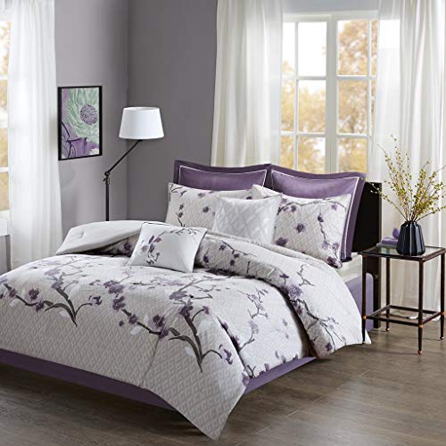 Madison Park Holly 8 Stück Baumwolle Tröster Set Purple Queen -