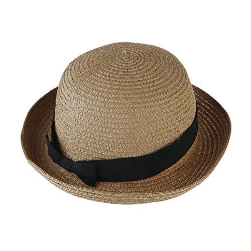 TinkSky Fashion Damen Mädchen Bowknot Roll-Up Wide Brim Dome Stroh Sommer Sonne Hut Bowler Strand Cap (Licht-Kaffee) -