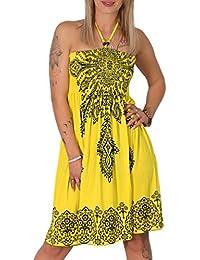 Neckholder Sommer Bandeau Kleid Holz-Perlen Damen Strandkleid Tuchkleid  Tuch Aztec 9e712f20fc