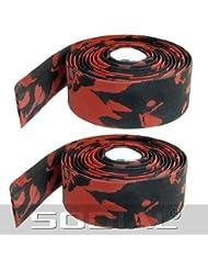 TOOGOO (R) 2 x Cinta de Manillar con Tapones de Barra Plastico - Rojo Negro