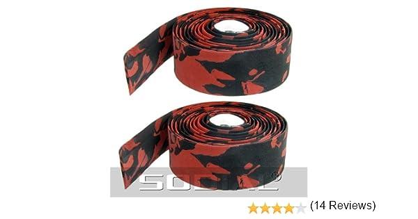 R 2pz nastro manubrio rosso e nero con tappi di chiusura plastica per bici bicciletta TOOGOO