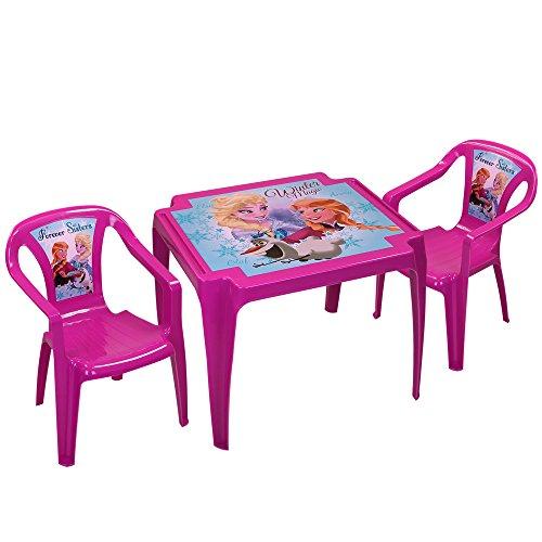 Disney Kindertisch mit 2 Stühlen - Kindersitzgruppe - Kunststoff Sitzgruppe mit Farbauswahl (Frozen)