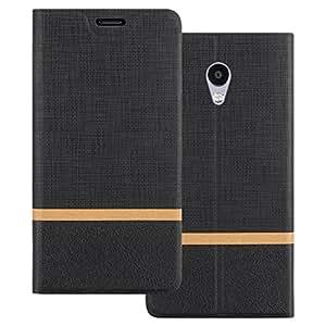 Custodia Meizu M5S, Shanphone Premium Pu Portafoglio Protettiva in pelle Bookstyle Flip Cover Stand Case per Meizu M5S, Nero