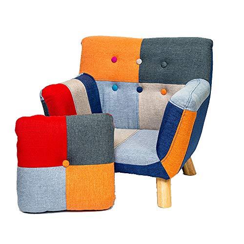 HYMZP Sessel Kinder,Kindersessel Lazy Sofa Persönlichkeit Patchwork Kinderstuhl, Massivholzrahmen Schuhbank Geeignet Für Kinder 3-10 Jahre Alt,Sofa