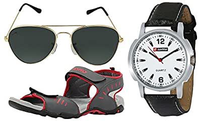 Lotto Men's Multicolor Combo Of Sandal & Watch With Sunglass Gt7150C Uk/In 7
