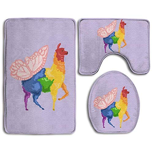 Sheer Lip Liner (Qian Mu888 Bath Mat, 3 Piece Bathroom Rug Set Rainbow Butterfly Llama Purple, Nonslip Bathroom Rug Mat Dustproof Toilet Cover for Men Women Kids, Bathroom Rugs, Bathroom Accessories)