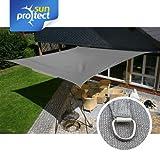 sunprotect 83226 Professional Sonnensegel, 5 x 5 m, quadratisch, wind- & wasserdurchlässig, grausilber