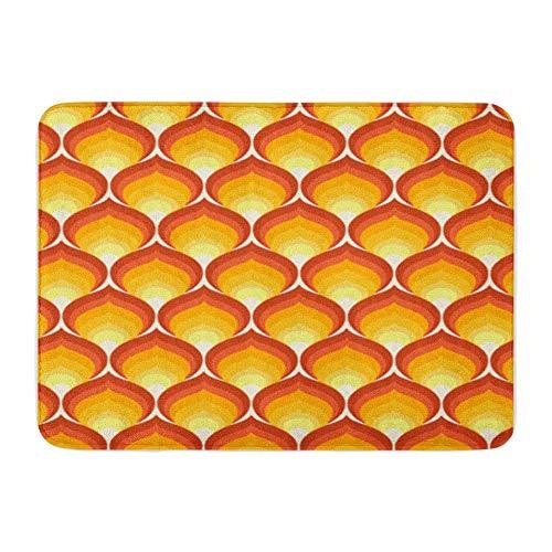 Bad Matte Flanell Stoff weich saugfähig 70er Jahre Retro Muster 1970er Jahre Flamme 1960er Jahre gemütliche dekorative rutschfeste Memory Badezimmer Teppich