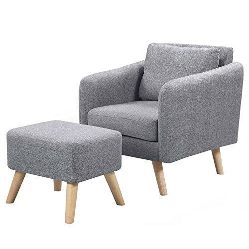 WarmieHomy Modern Occasional Chair Fabric Armchair Bedroom Accent Chair Sofa Chair with Footstool (Grey)